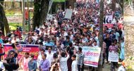 কমলগঞ্জে সাম্প্রদায়িক সহিংসতার বিরুদ্ধে মানববন্ধন ও প্রতিবাদ সমাবেশ